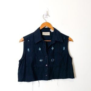 Vintage reworked western Button up cropped top